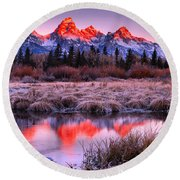 Teton Reflections In The Frosted Willows Round Beach Towel