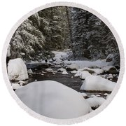 Teton River In Winter Round Beach Towel