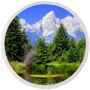 Tetons 3 Round Beach Towel