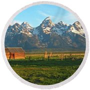 Tetons And Cabin Round Beach Towel