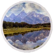Tetons At The Landing 1 Round Beach Towel