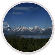 Tetons In Blue Round Beach Towel