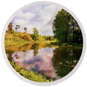 Teviot River Near Kelso. Round Beach Towel