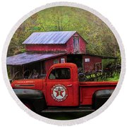 Texaco Truck On A Smoky Mountain Farm In Colorful Textures  Round Beach Towel