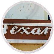 Texan Movie Theater Sign Round Beach Towel