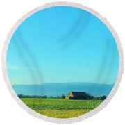 Texarkana Farm Scene Round Beach Towel
