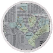 Texas - Birthplace Of The Modern Oil Industry Round Beach Towel