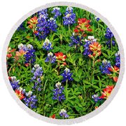 Texas Bluebonnets And Indian Paintbrush Round Beach Towel