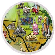Texas Cartoon Map Round Beach Towel