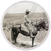 Texas: Cowboy, C1908 Round Beach Towel