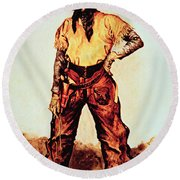 Texas Cowboy Round Beach Towel by Frederic Remington