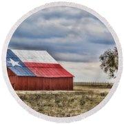Texas Flag Barn #2 Round Beach Towel