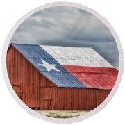 Texas Flag Barn #3 Round Beach Towel