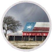 Texas Flag Barn #4 Round Beach Towel