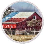 Texas Flag Barn #6 Round Beach Towel