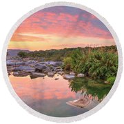 Texas Hill Country Morning Along The Pedernales 2 Round Beach Towel