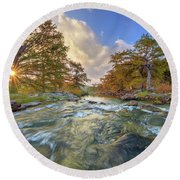 Texas Hill Country Pedernales Sunrise 1014-3 Round Beach Towel