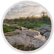 Texas Hill Country Sunrise - Llano Tx Round Beach Towel