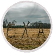 Texas In Tree Branches Round Beach Towel