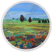 Texas Landscape Bluebonnet Indian Paintbrush Explosion Round Beach Towel