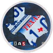 Texas License Plate Map Round Beach Towel
