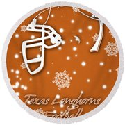 Texas Longhorns Christmas Card Round Beach Towel