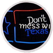 Texas Neon Sign Round Beach Towel