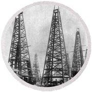 Texas: Oil Derricks, C1901 Round Beach Towel