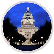 Texas State Capitol Floodlit At Night, Austin, Texas - Stock Image Round Beach Towel