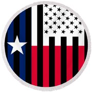 Texas State Flag Graphic Usa Styling Round Beach Towel