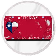 Texas State License Plate With Damage Round Beach Towel