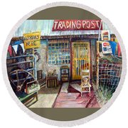 Texas Store Front Round Beach Towel