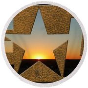 Texas Sunrise Round Beach Towel