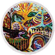 Texture Abstract  Round Beach Towel