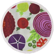 Texture Of Colored Fabric Round Beach Towel