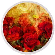 Texture Roses Round Beach Towel