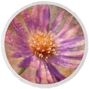 Textured Aster Round Beach Towel by Lois Bryan