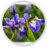 Textured Bearded Irises Round Beach Towel