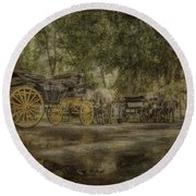 Textured Carriages Round Beach Towel