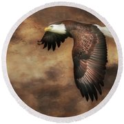 Textured Eagle 2 Round Beach Towel