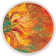 Textured Fire Sunflower Round Beach Towel