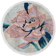Textured Floral No.2 Round Beach Towel by Writermore Arts