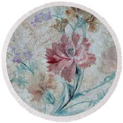 Textured Florals No.1 Round Beach Towel by Writermore Arts