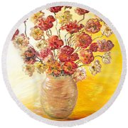 Textured Flowers In A Vase Round Beach Towel