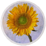 Textured Sunflower Round Beach Towel