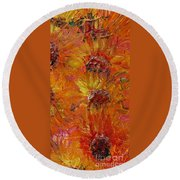 Textured Sunflowers Round Beach Towel