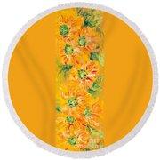 Textured Yellow Sunflowers Round Beach Towel