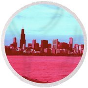 Textures Of Chicago Round Beach Towel