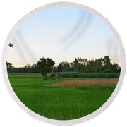 Thai Fields Round Beach Towel