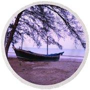 Thai Fishing Boat 04 Round Beach Towel